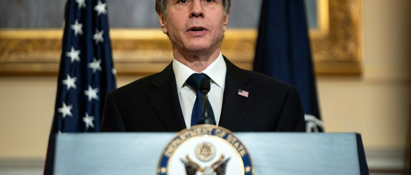 Blinken delivers a speech at the State Department on the priorities of the Biden administration.