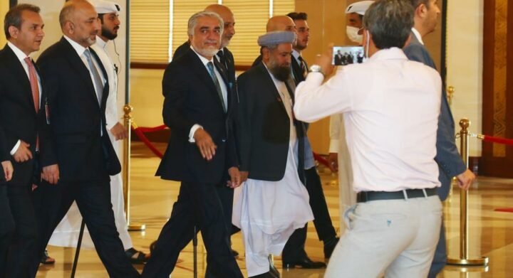 Chairman of the High Council for National Reconciliation Abdullah Abdullah arrives for an intra-Afghan talks in Doha, Qatar