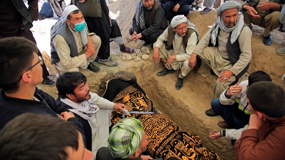 Afghan men bury a victim of deadly bombings on Saturday near a school at a cemetary west of Kabul Afghanistan Sunday May 9 2021. AP Photo Mariam Zuhaib 1 - Blog